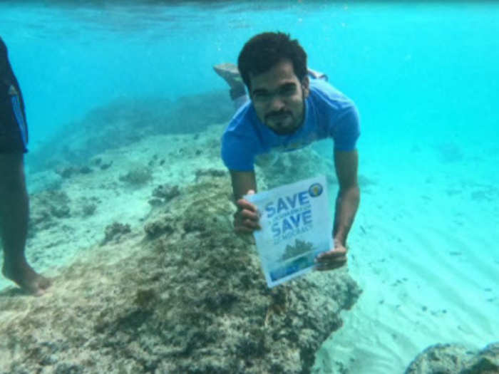 Lakshadweep residents hold an underwater protest
